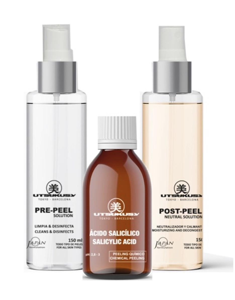 Post-Peel (Neutralisationslösung bzw. Pufferlösung), Pre-Peel und Fruchtsäurepeeling (Salizylsäure)